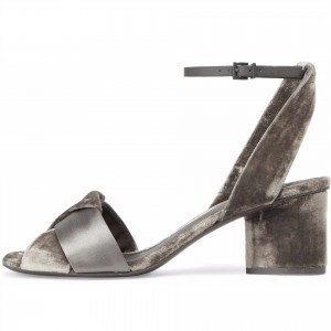 Grey Velvet and Satin Block Heels Slingback Sandals