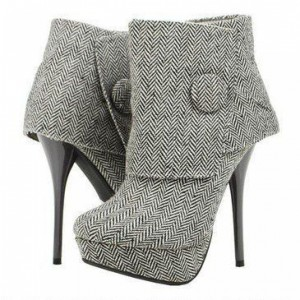 Grey Fabric Button Platform Stiletto Boots Ankle Booties US Size 3-15