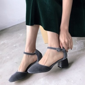 Grey Velvet Block Heels Vintage Closed Toe Ankle Strap Heels Pumps