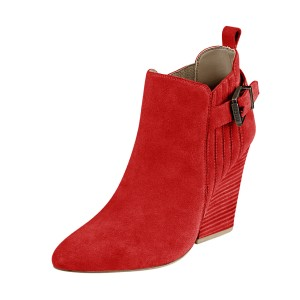 Women's Suede Red Almond Toe Buckle Chunky Heel Boots