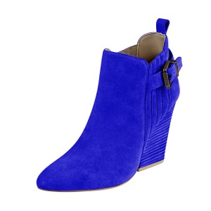 Women's Suede Royal Blue Almond Toe Buckle Chunky Heel Boots