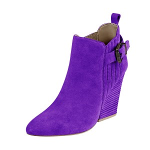 Women's Suede Purple Almond Toe Buckle Chunky Heel Boots