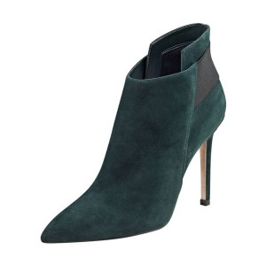 FSJ Teal Shoes Pointy Toe Suede Stiletto Heel Fashion Ankle Booties