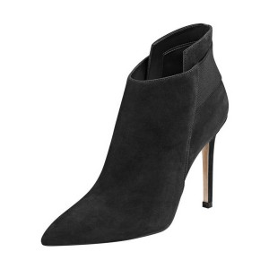 FSJ Black Suede Stiletto Boots Pointy Toe Fashion Work Booties