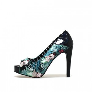 Halloween Floral Heels Platform Stiletto Heel Pumps