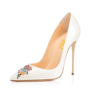 Women's Pointy Toe White Floral Office Heels Pumps