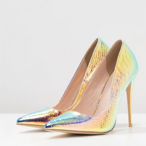 Hologram Python Stiletto Heels Pumps
