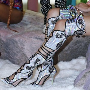 Embroidered Summer Boots Holographic Shoes Buckles Thigh High Boots