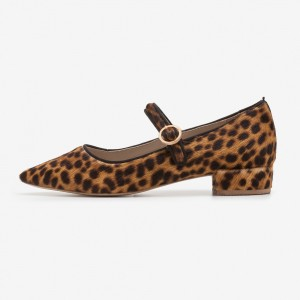 Horsehair Leopard Print Heels Pointy Toe Mary Jane Pumps