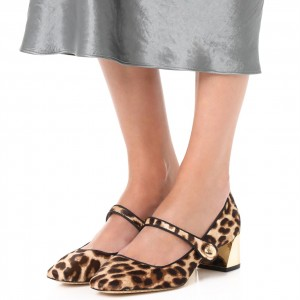Horsehair Leopard Print Shoes Block Heels Mary Jane Pumps