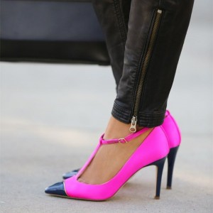Hot Pink and Navy T Strap Heels Pumps