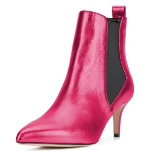Hot Pink Chelsea Boots Stiletto Heel Ankle Boots