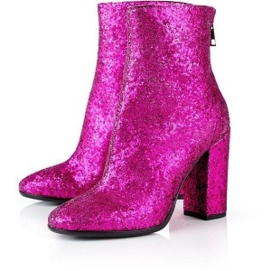 Dark Hot Pink Glitter Boots Closed Toe Block Heel Fashion Ankle Boots
