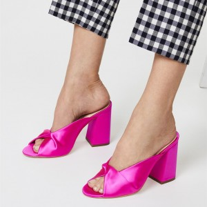 Hot Pink Mule Heels Peep Toe Block Heels Sandals
