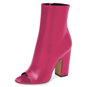 Hot Pink Peep Toe Booties Chunky Heel Ankle Boots