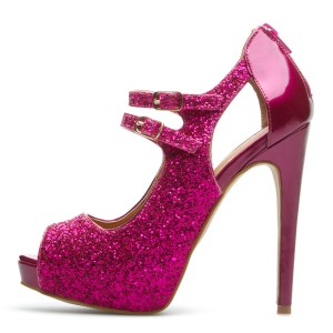 Hot Pink Glitter Shoes Peep Toe Platform High Heel Pumps US Size 3 -15