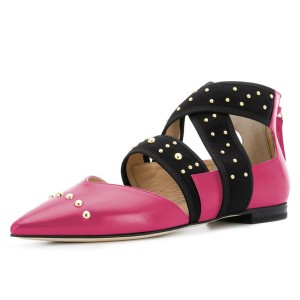 Hot Pink Pointy Toe Comfortable Flats Cross Strap Studs Shoes