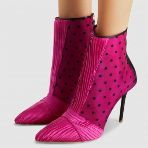 Hot Pink Polka Dots Satin Stiletto Boots Mush Ankle Booties with Zip
