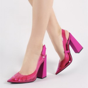 Hot Pink PVC And Suede Slingback Pumps Block Heel Pumps