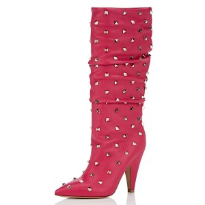 Hot Pink Rockstud Cone Heel Fashion Boots Mid-calf Boots for Women