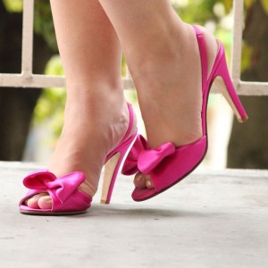 Hot Pink Satin Bow Heels Peep Toe Stiletto Heels Slingback Pumps