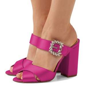 Hot Pink Satin Rhinestone Buckle Chunky Heel Mule Sandals