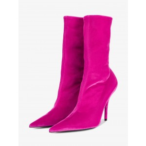 Hot Pink Stiletto Boots Suede Fashion Mid Calf Boots for Women
