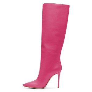 Hot Pink Stiletto Heels Knee-high Heeled Boots