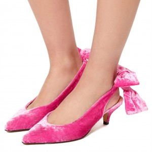 Hot Pink Velvet Kitten Heel Slingback Pumps with Bow