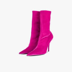 Hot Pink Stiletto Boots Sexy Pointy Toe Mid Calf Velvet Shoes