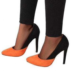 Women's Orange and Black Stiletto Heels Dress Shoes Suede Pointy Toe Pumps