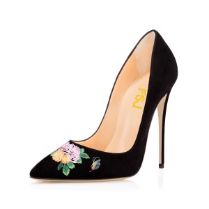 Women's Pointy Toe Black Suede Butterfly Floral Office Heels Pumps