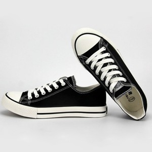 Hui Li Black Lace up Sneakers Canvas Shoes