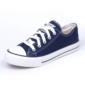 Hui Li Navy Lace up Sneakers Canvas Shoes