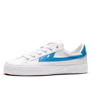 Hui Li White Blue Stripes Lace Up Sneakers