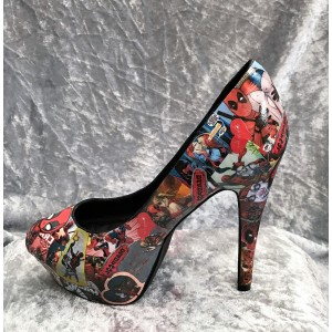 Women's Harley Quinn Comic Floral Platform Stiletto Heels Pumps for Halloween