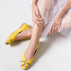 Women's Lemon Yellow Peep Toe Comfortable Flats Cute Shoes