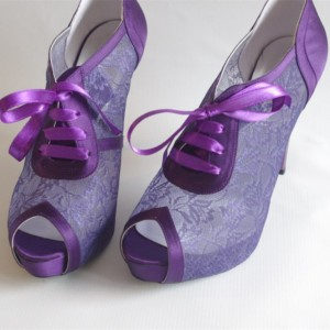 Women's Purple Lace Stiletto Heels  Peep Toe Shoes  Lace Up Heels