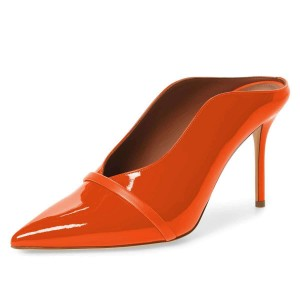 Orange Pointed Toe Patent Leather Mules Stiletto Heels