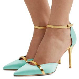 Cyan Pointed Toe Ankle Strap Heels Stiletto Heel Pumps