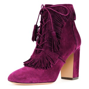 Purple Suede Chunky Heel Lace Up Tassel Fringe Boots