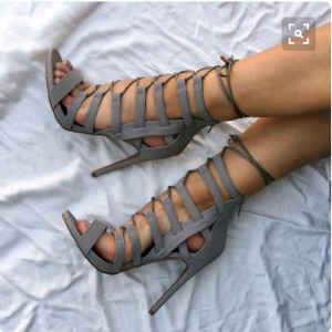 Grey Strappy Heels Lace up Sandals Stiletto Heels Shoes for Women