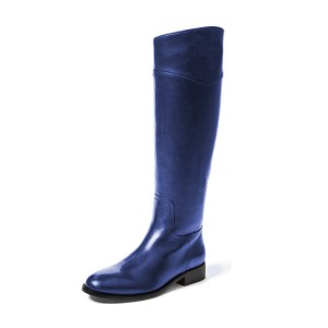 Indigo Blue Shiny Fashion Boots Flat Round Toe Knee Boots