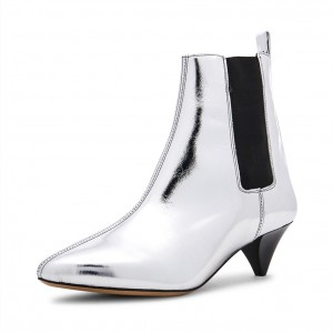 Silver Metallic Chelsea Boots Cone Heel Pointy Toe Ankle Booties