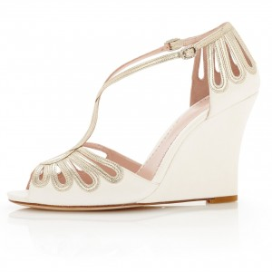 Ivory and Gold Wedding Wedge Bridal Sandals