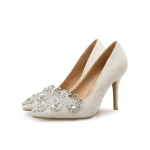 Ivory Bridal Shoes Lace Heels Pointy Toe Rhinestone Pumps for Wedding