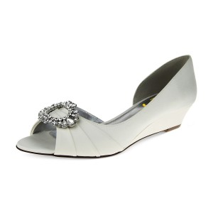 Ivory Bridal Heels Rhinestone Satin Wedge Heels D'orsay Pumps
