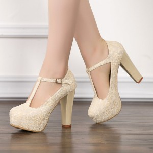 Ivory Lace Heels T Strap Wedding Shoes Chunky Heel Pumps