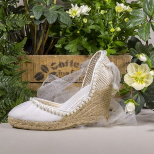 Ivory Canvas Platform Wedding Wedges with Pearls and Mesh