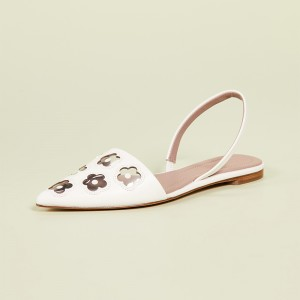 Ivory Clear PVC Flower Flat Slingback Shoes